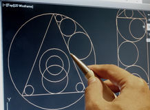 Cad work. Engineer working on cad design royalty free stock photo