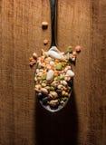 Cada clase de legumbres dentro de una cuchara Foto de archivo libre de regalías