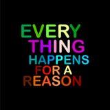 Cada cosa sucede para un refrán de motivación de la razón Ilustración del Vector