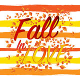 Caída en las letras de amor Autumn Banner Postcard estacional Fotos de archivo libres de regalías