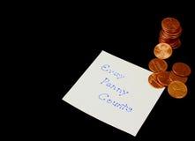 Cada moeda de um centavo conta Imagens de Stock