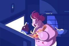 Cada noche el comer excesivamente y glotonería libre illustration