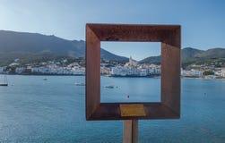 Cadaqués-Ansicht in einen Rahmen Stockbild