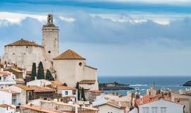 Cadaqués - a beautiful artist town in the middle of the Cap de. Creus peninsula, near the Cap de Creus cape -  Church of Santa María de Cadaqués a 16th Royalty Free Stock Photography