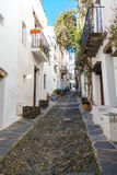 Cadaqués street. Photograph of a street in Cadaqués, Catalonia, Spain Royalty Free Stock Images