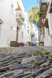 Cadaqués street. Photograph of a street in Cadaqués, Catalonia, Spain Stock Images