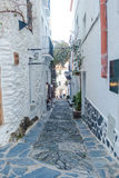 Cadaqués street. Photograph of a street in Cadaqués, Catalonia, Spain Royalty Free Stock Photos