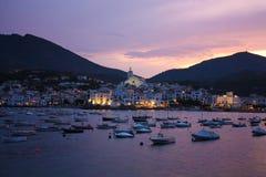cadaques地中海浪漫主义海运日落 免版税库存照片