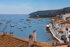 Cadaques bay, Costa Brava, Spain. Aerial view from above of Cadaques bay, Costa Brava, Spain stock images