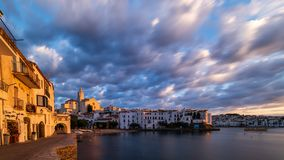 Panorama of Cadaques bay royalty free stock photography