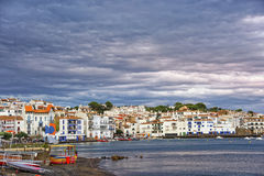 Cadaques and city beach with harbor view in summer Stock Photos