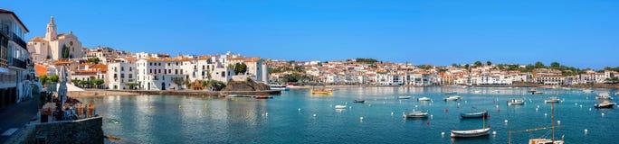 Cadaques, Costa Brava, Spain. Panoramic view of Cadaques on Mediterranean seaside, Costa Brava, Catalonia, Spain Stock Photos
