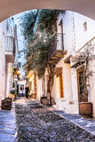 Cadaques. Famous village of Cadaques with small streets with artesenal shops Royalty Free Stock Photos