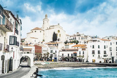 Cadaques. Famous village of Cadaques in stormy day. Costa Brava Royalty Free Stock Images