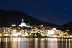 Cadaques by night. With Venus in the sky Stock Photos