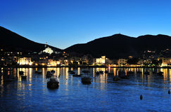 Cadaques by night. Cadaques after sunset at blue hour. The village of Salvador Dali, in Costa Brava, Gerona, Catalonia, Spain Royalty Free Stock Images