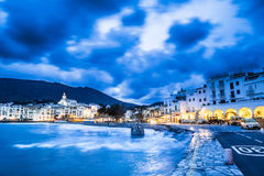 Cadaques. Night in Cadaques, the most picturesque village of Costa Brava Stock Photography