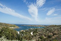 cadaques podpalany portlligat Spain Obraz Royalty Free