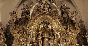 Cadaques, Province Of Girona, Catalonia, Spain. Altar Of Church of Santa Maria. Cadaques, Province Of Girona, Catalonia, Spain - May 14, 2018: Altar Of Church of stock video