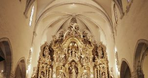 Cadaques, Province Of Girona, Catalonia, Spain. Altar Of Church of Santa Maria. Cadaques, Province Of Girona, Catalonia, Spain - May 14, 2018: Altar Of Church of stock video footage