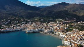 Aerial drone video footage of Cadaques Spain.the camera approaches the city. sunny daylight. Mountains and the city. Cadaques Spain. Aerial drone video footage stock video footage