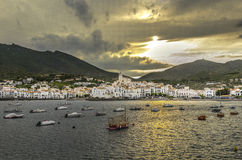 Cadaques, Spain - fisherman village. Fisherman village at sunset. Cadaques, Spain Royalty Free Stock Photo