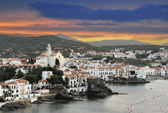Cadaques with storm sky Royalty Free Stock Image