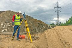 Cadastral survey of locality by surveyor stock photos