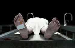 Cadaver, dead male body in morgue on steel table. Corpse. Autopsy concept. 3d rendering. Royalty Free Stock Photography