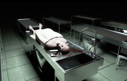 Cadaver, dead male body in morgue on steel table. Corpse. Autopsy concept. 3d rendering. Stock Photography