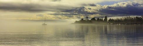 Cadboro Bay at daybreak. Panoramic view of Cadboro Bay at daybreak, Saanich, British Columbia, Canada royalty free stock photo