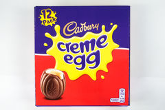 Cadbury`s Creme Egg. CHESTER, UNITED KINGDOM - March 19 2017: Cadbury`s Creme Egg box. A popular chocolate treat for the Easter holidays Stock Photos