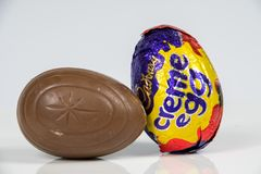 Cadbury`s Creme Egg. CHESTER, UNITED KINGDOM - MARCH 04 2018: Cadbury`s Creme Egg. A popular chocolate treat for the Easter holidays Stock Images