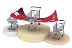 Caddie du gagnant 3d avec les ailes par la carte de crédit Photos stock