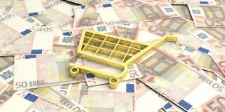caddie du rendu 3d sur 50 billets de banque d'euros Photos libres de droits