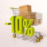 Caddie et signe de pourcentage, 10 pour cent Images stock