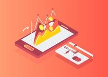 Caddie isométrique plat sur l'écran de Smartphone illustration libre de droits