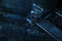 Caddie ou chariot à supermarché avec le carnet d'ordinateur portable sur le wor Image libre de droits