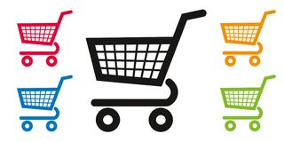 Shopping Cart icon to symbolize the convenience store. Pictograms of supermarket shopping cart of different colors, to symbolize local commerce and consumption royalty free illustration