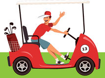 Caddy in a golf cart Royalty Free Stock Image