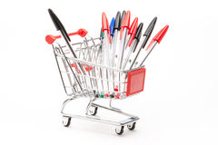 Caddy with school equipment Royalty Free Stock Images