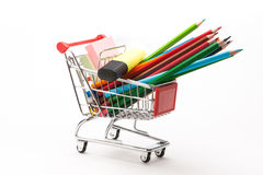 Caddy with school equipment Royalty Free Stock Image