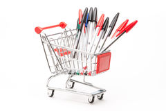 Caddy with school equipment Stock Images