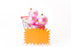 Caddy for shopping with christmas ball Stock Photography