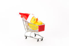 Caddy for shopping with christmas duck Stock Image