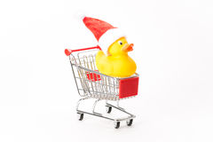 Caddy for shopping with christmas duck Stock Photography