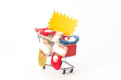 Caddy for shopping with christmas socks Royalty Free Stock Photo