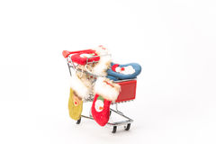 Caddy for shopping with christmas socks Royalty Free Stock Image