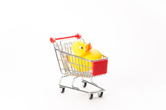 Caddy for shopping with duck Stock Photography