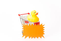 Caddy for shopping with duck Stock Photo